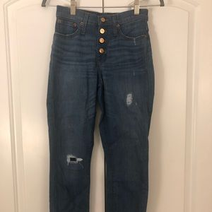 Jcrew fringe high waisted button jeans